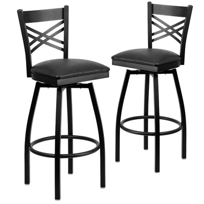 "Chafin 32"" Swivel Bar Stool Upholstery: Black"