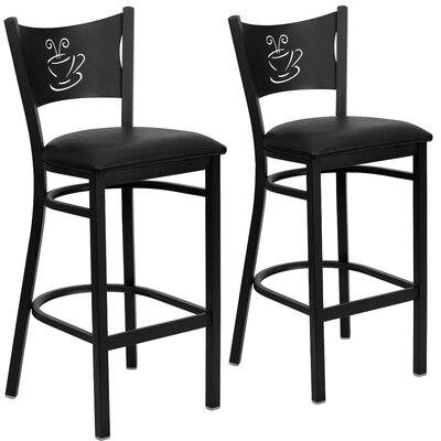 "Chafin 30"" Bar Stool Upholstery: Black"