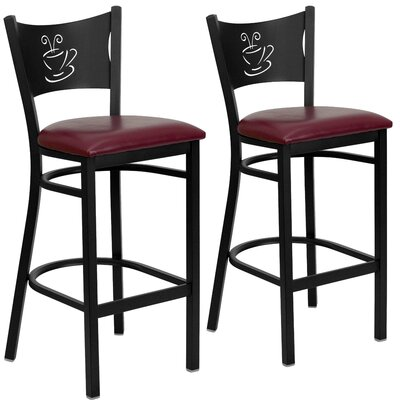"Chafin 30"" Bar Stool Upholstery: Burgundy"