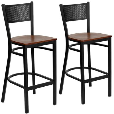 "Chafin 28"" Swivel Bar Stool Color: Cherry"