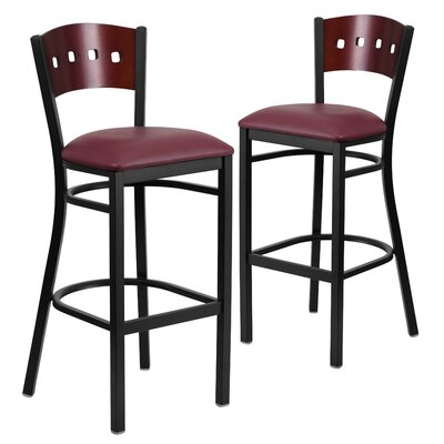 "Chafin 32"" Bar Stool Upholstery: Burgundy"