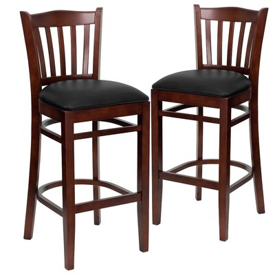 "Loughran 31"" Bar Stool Upholstery: Black, Frame Color: Mahogany"