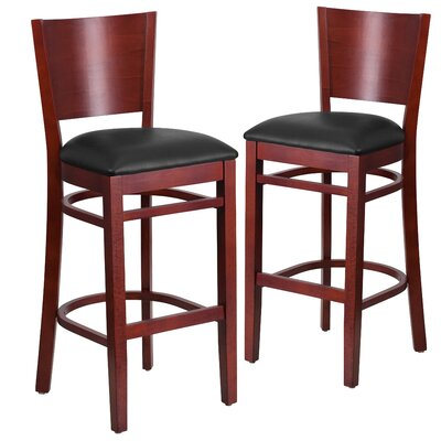 "Harriet 32"" Bar Stool Upholstery: Black, Frame Color: Mahogany"