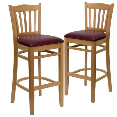 "Loughran 31"" Bar Stool Upholstery: Burgundy, Frame Color: Natural"
