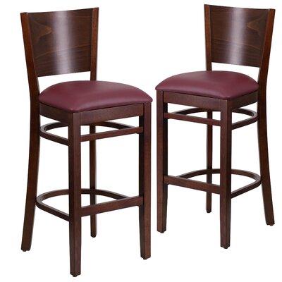 "Harriet 32"" Bar Stool Upholstery: Burgundy, Frame Color: Walnut"