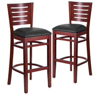 "Lauren 32"" Bar Stool Upholstery: Black, Frame Color: Mahogany"