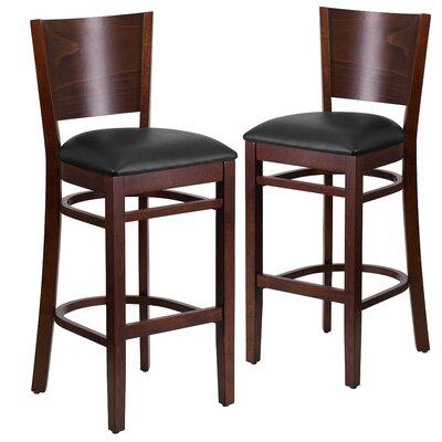 "Harriet 32"" Bar Stool Upholstery: Black, Frame Color: Walnut"