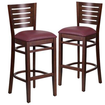 """Lauren 32"""" Bar Stool Upholstery: Burgundy, Frame Color: Walnut"""