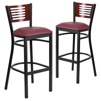 "Chafin 32"" Bar Stool Upholstery: Burgundy"