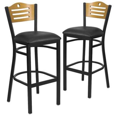 "Chafin 32"" Bar Stool Upholstery: Black"