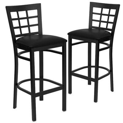 "Chafin 31"" Bar Stool Upholstery: Black"