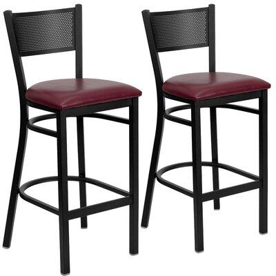 "Chafin 30"" Bar Stool Upholstery: Burgundy"