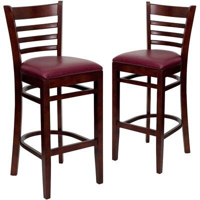 "Loughran 31"" Bar Stool Upholstery: Burgundy, Frame Color: Mahogany"