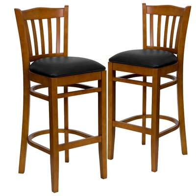 "Loughran 31"" Bar Stool Upholstery: Black, Frame Color: Cherry"