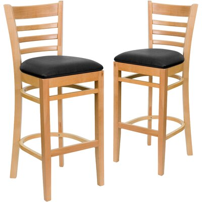 "Loughran 31"" Bar Stool Upholstery: Black, Frame Color: Natural"
