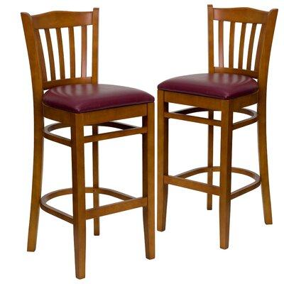 "Loughran 31"" Bar Stool Upholstery: Burgundy, Frame Color: Cherry"