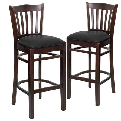 "Loughran 31"" Bar Stool Upholstery: Black, Frame Color: Walnut"
