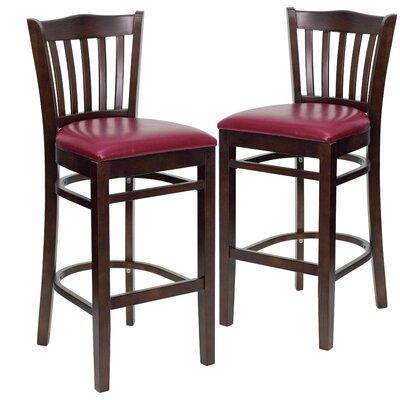 "Loughran 31"" Bar Stool Upholstery: Burgundy, Frame Color: Walnut"