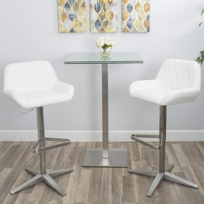 Dicarlo Adjustable Height Swivel Bar Stool Frame Color: Brushed Stainless Steel, Seat Color: White
