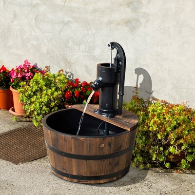 Wood and Metal Outdoor Apple Barrel Water Fountain and Pump