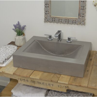 "Bay Wave Rectangular Vessel Bathroom Sink Size: 7"" H x 49"" W x 22"" D"