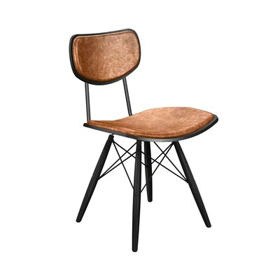 Dodgen Upholstered Dining Chair Upholstery: Burnt Orange, Frame Color: Black, Leg Color: Black