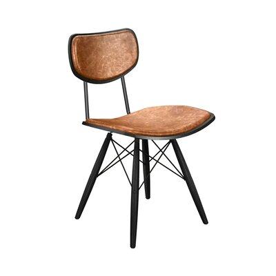 Dodgen Upholstered Dining Chair Upholstery: Burnt Orange, Frame Color: Black, Leg Color: Black