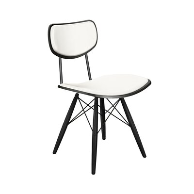 Dodgen Upholstered Dining Chair Upholstery: Milano White, Frame Color: Black, Leg Color: Black