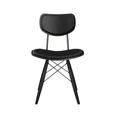 Dodgen Upholstered Dining Chair Upholstery: Milano Black, Frame Color: Black, Leg Color: Black