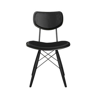 Dodgen Upholstered Dining Chair Upholstery: Milano Black, Frame Color: Black, Leg Color: Black