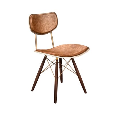 Dodgen Upholstered Dining Chair Upholstery: Burnt Orange, Leg Color: Brass, Frame Color: Walnut