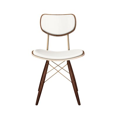 Dodgen Upholstered Dining Chair Upholstery: Milano White, Leg Color: Brass, Frame Color: Walnut
