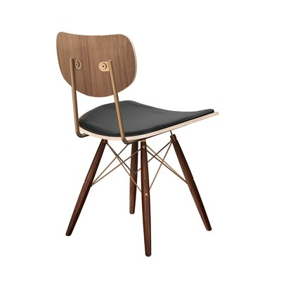 Dodgen Upholstered Dining Chair Upholstery: Milano Black, Leg Color: Brass, Frame Color: Walnut