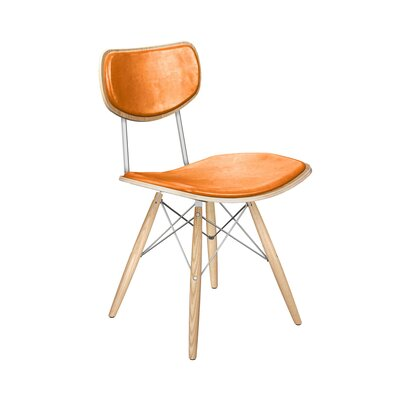 Dodgen Upholstered Dining Chair Upholstery: Weathered Whiskey, Leg Color: Chrome, Frame Color: Natural