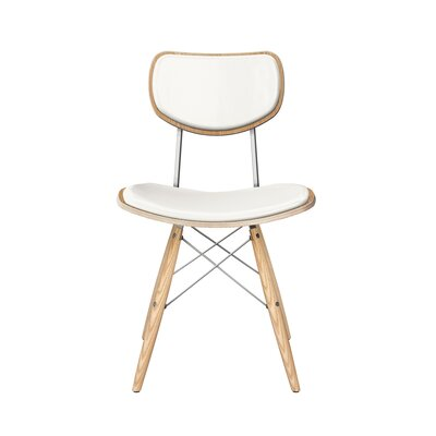 Dodgen Upholstered Dining Chair Upholstery: Milano White, Leg Color: Chrome, Frame Color: Natural