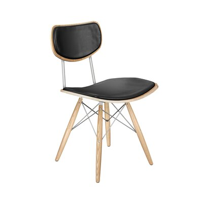 Dodgen Upholstered Dining Chair Upholstery: Milano Black, Leg Color: Chrome, Frame Color: Natural
