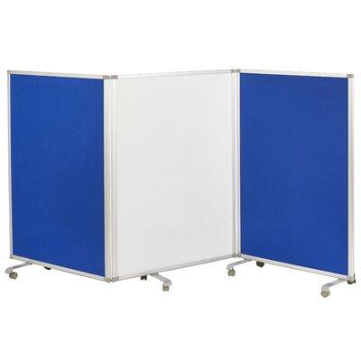 Mobile Dry-Erase Flannel 3 Panel Room Divider