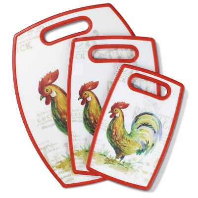 Rooster 3 Piece Plastic Cutting Board Set