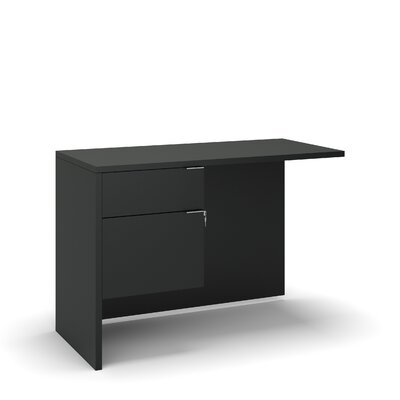 "Emilie 29"" H Desk Return Size: 29"" H x 42"" W x 20"" D, Color: Black"