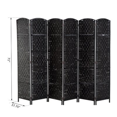 Roche Room Divider Color: Black, Number of Panels: 6