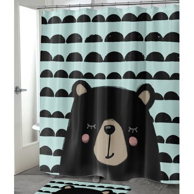 "Allwood Bear Shower Curtain Size: 72"" H x 70"" W"