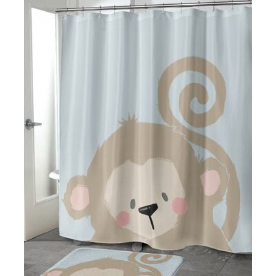 "Alsace Monkey Shower Curtain Size: 72"" H x 70"" W"