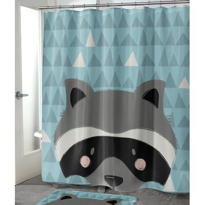 "Jacquelyn Raccoon Shower Curtain Size: 72"" H x 70"" W"