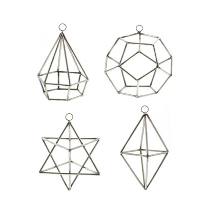 4 Piece Steel Geo Assorted Natural Shaped Ornament Set