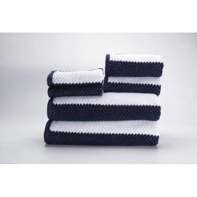 Teshawn 6 Piece 100% Cotton Towel Set Color: Navy