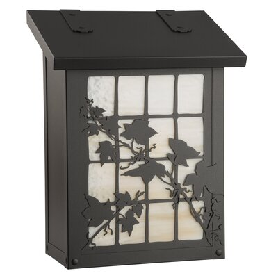 English Ivy Wall Mounted Mailbox Finish: Textured Black, Glass Color: Honey