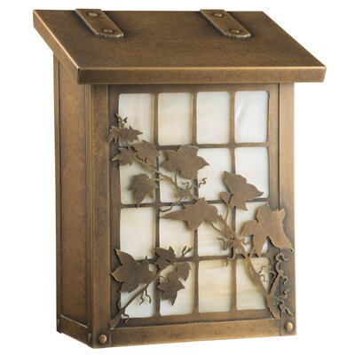 English Ivy Wall Mounted Mailbox Glass Color: Champagne, Finish: Warm Brass