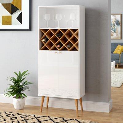 Lemington 10 Bottle Floor Wine Rack China Storage Closet with 4 Shelves Color: White Gloss/Maple Cream