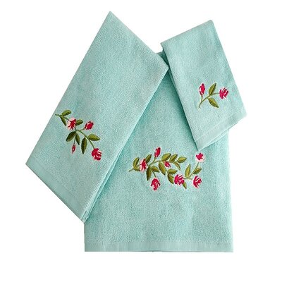 Beatriz Tulip 3 Piece 100% Cotton Towel Set Color: Aqua/Green/Pink
