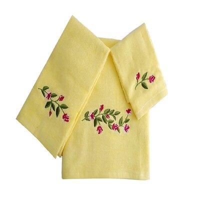 Beatriz Tulip 3 Piece 100% Cotton Towel Set Color: Yellow/Green/Pink